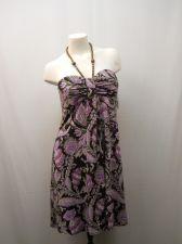 Buy R&M Richards Women's Empire Halter Dress Size 12 Plum Paisley Print Beaded Ties