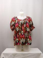 Buy Top Plus Size 2X ELEMENTZ Women's Geometric Short Sleeves Scoop Neck Peasant