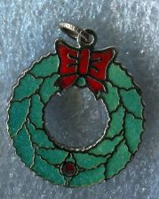 Buy Vintage Sterling Silver Red and Green Enamel Holiday Wreath Charm
