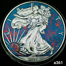 Buy 2015 Rainbow Monster Toned Silver American Eagle Coin 1 ounce uncirculated #a361