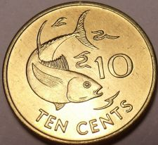Buy Gem Unc Seychelles 1997-PM 10 Cents~Yellowfin Tuna~Two Sailfish~Free Shipping