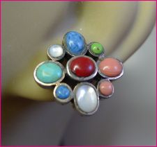 Buy Post Earrings : Southwestern Sterling Silver Nine ( 9 ) different cabs Cabochons
