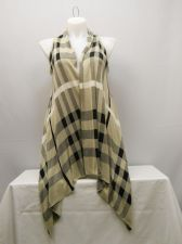 Buy Women's Wrap Scarf Vest Size M COMO VINTAGE Beige Plaid Long Asymmetrical Hem