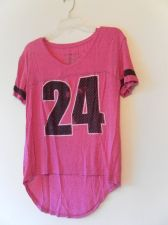Buy Womens Fifth Sun V Neck Short Sleeve Stretch Top Size M Pink Extended Back