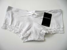 Buy X176 Rampage NEW White Wide Embroidered Lace Openings Stretch Cotton Boyshort PR
