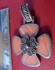 Buy Pendant sterling 925 silver 4 Leaf Clover or Dogwood Pink Stones with Marcasite