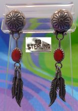 Buy Post Earrings : Sterling Navajo Tribal signed RB Robert Becenti Coral w/ Feather