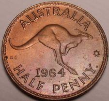 Buy Rare Gem Unc Australia 1964 Half Penny~Mint Luster~Kangaroo~Free Shipping