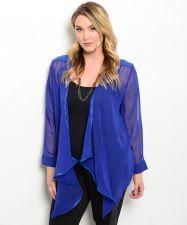 Buy Crystal K Women's Plus Size Open Wrap Top Sheer Asymmetrical Solid Blue Clubwear
