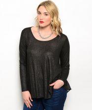 Buy Bellezza Black Long Sleeves Scoop Neck Mesh Back Insert Top Jr. Plus Size XL-3XL