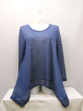 Buy All at Once Womens Knit Tunic Top Plus Size 2X Sheer Solid Blue Asymmetrical Hem