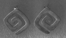 Buy Post Earrings : Retired Silpada Sterling 925 Silver Square Cut Out Maze