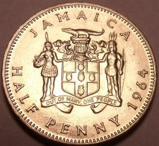 Buy Gem Uncirculated Jamaica 1964 Half Penny~Queen Elizabeth II~Free Shipping