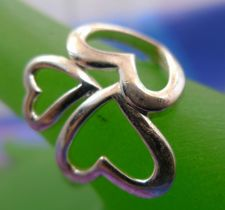 Buy sz 9 Ring Sterling 925 Silver 3 Connected Hearts signed WS