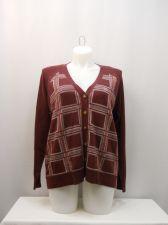 Buy North Crest Women's Boyfriend Cardigan Plus Size 2X Plaid Burgundy Long Sleeves