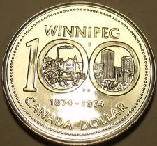 Buy Proof Canada 1974 Winnipeg Dollar~100 Year Anniversary~Excellent~Free Shipping