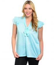 Buy Level Eight Plus Women's Top Mint Polka Dot Necktie Cap Sleeves Pullover V-Neck