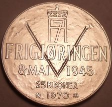Buy Unc Silver Norway 1970 25 Kroner~25th Anniversary Of Liberation~Free Shipping