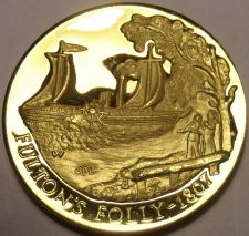 Buy PROOF LONGINES 24K GOLD PLATED MEDALLION~1807 FULTONS FOLLY STEAMBOAT~FREE SHIP~