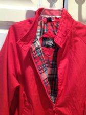 Buy 2 Knightsbridge red jackets with beautiful plaid lining, zippered, size large