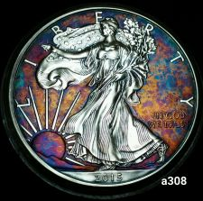 Buy 2015 Rainbow Monster Toned Silver American Eagle 1oz fine with velvet case #a308