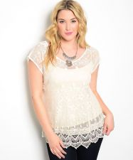 Buy Rainbow Beige Scoop Neck Sleeveless Sheer Lace Tunic Top Size 1XL-3XL