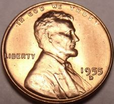 Buy United States 1955-D Unc Lincoln Wheat Cent~Free Shipping