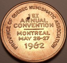 Buy Huge 1st Annual Quebec Numismatic Convention Medallion~1962 Montreal~Free Ship