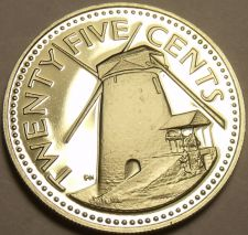 Buy Rare Proof Barbados 1979 25 Cents~Mintage 4,126~Morgan Lewis Windmill~Free Ship