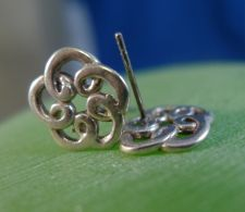 Buy Post Earrings : Sterling 925 Silver Flower Stencil Doodle