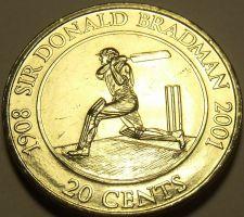 Buy Large Unc Australia 2001 20 Cents~Sir Donald Bradman~Cricketer Champion~Free Shi