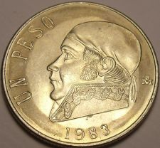 Buy Large Unc Mexico 1983 Peso~Wide Date Variety~Last Year Ever Minted~Free Shipping