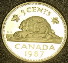 Buy Cameo Proof Canada 1987 Beaver Nickel~179,004 Minted~Free Shipping