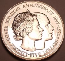 Buy Rare Silver Proof Cayman Islands 1972 $25~Elizabeth And Phillip 25th Year~Fr/Shi