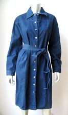 Buy Terry Lewis NEW Women's Blue Stretch Denim Snap Button Long Sleeve Jeans Dress M