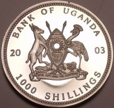 Buy Silver Proof Uganda 2003 1,000 Shillings~Gorillas Of Africa~Seated~Free Shipping