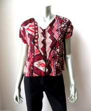 Buy Angie NEW Red/Tan Satin Print Quilt Art Front Cap Sleeves Pullover Blouse M PR