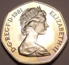 Buy Huge Proof Great Britain 1981 50 Pence~See Our Store For GB Proofs~Free Shipping