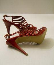 """Buy SIZE 10 M Womens Stilettos CARLOS Flash Red 5"""" Heel Evening Wear Buckle Open Toe"""