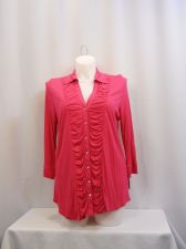 Buy INC Pink 3/4 Sleeves Button Ruched Front Top Plus Size 1X-2X