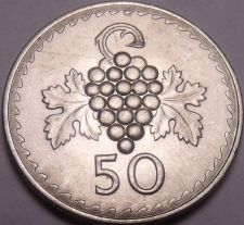 Buy Gem Unc Cyprus 1963 50 Mils~1st Year Ever Minted~Grape Cluster~Free Shipping