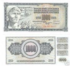 Buy YUGOSLAVIA HUGE 1,000 DINARA AWESOME NOTE UNCIRCULATED!