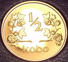Buy Rare Proof Nigeria 1973 Half Kobo~1st & Only Year In Proof~10k Minted~Free Ship