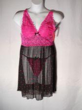 Buy Pucker Up 2 Piece Plus Size 1X 2X 3X Pink Lace & Black Babydoll &Thong