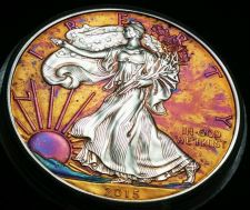 Buy 2015 Rainbow Toned Silver American Eagle coin 1oz high grade AT uncirc. #a204