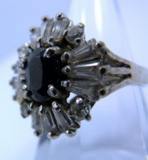 Buy sz 6.5 Sterling Silver Ring - Rhinestones Around Dark Blue or Black Center Stone