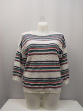Buy American Living Sweater Size XXL Multi-Color Striped 3/4 Sleeves Scoop Neck Knit