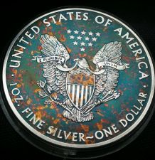 Buy 2015 Rainbow Toned Silver American Eagle 1 ounce fine uncirc. read descri. #a276