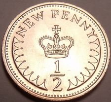 Buy Gem Unc Great Britain 1971 Half Penny~1st Year Ever Minted~Free Shipping