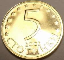 Buy Rare Proof Bulgaria 2002 5 Stotinki~Only 10,000 Minted~Last Year Before Euro~F/S